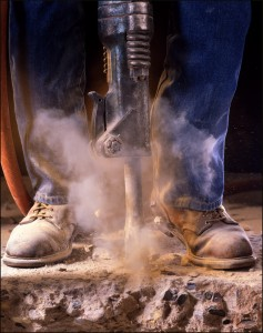 Jackhammer & dusty work boots: Getting to Work